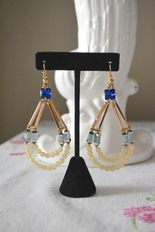 Sapphire Teardrop Earrings, Sapphire Earrings, Blue Teardrop Earrings, Beaded Teardrop Earrings, Gold Teardrop Earrings, Boho Chic, Boho Earrings, Boho Jewelry, White Beaded Earrings, Mint Beaded Earrings