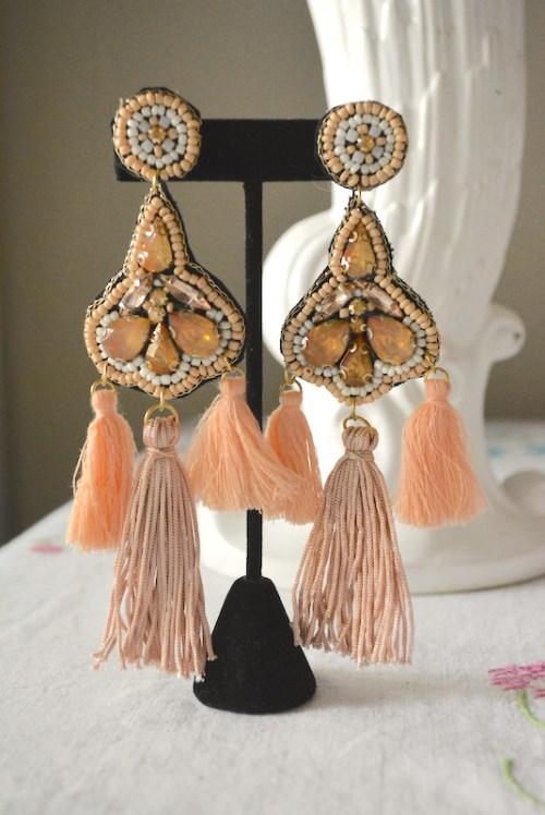 Peach Fringe Earrings, Peach Earrings, Blush Earrings, Pink Earrings, Statement Earrings, Statement Jewelry, Boho Jewelry, Bohemian Earrings, Fringe Earrings