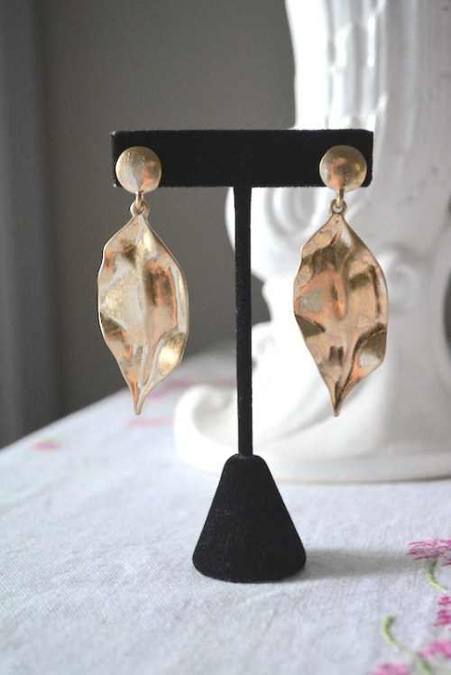Gold Leaf Earrings, Gold Earrings, Leaf Earrings, Gold Jewelry