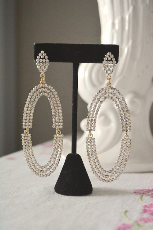 Rhinestone Oval Drop Earrings, Rhinestone Earrings, Rhinestone Statement Earrings, Statement Earrings, Statement Jewelry, Bridal Jewelry