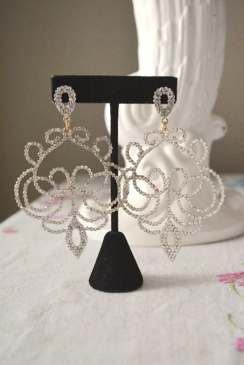 Rhinestone Scroll Earrings, Rhinestone Statement Earrings, Statement Jewelry, Wedding Jewelry, Bridal Jewelry