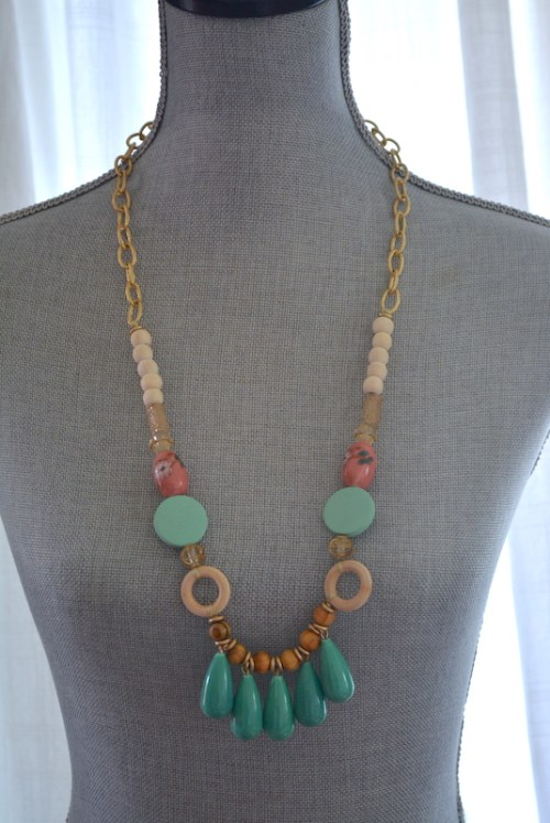 Turquoise and Wood Beaded Necklace, Wooden Jewelry