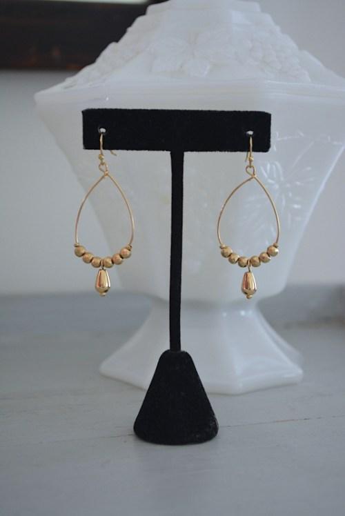 Gold Teardrop Hoop Earrings, Gold Hoop Earrings, Gold Teardrop Earrings, Boho Earrings