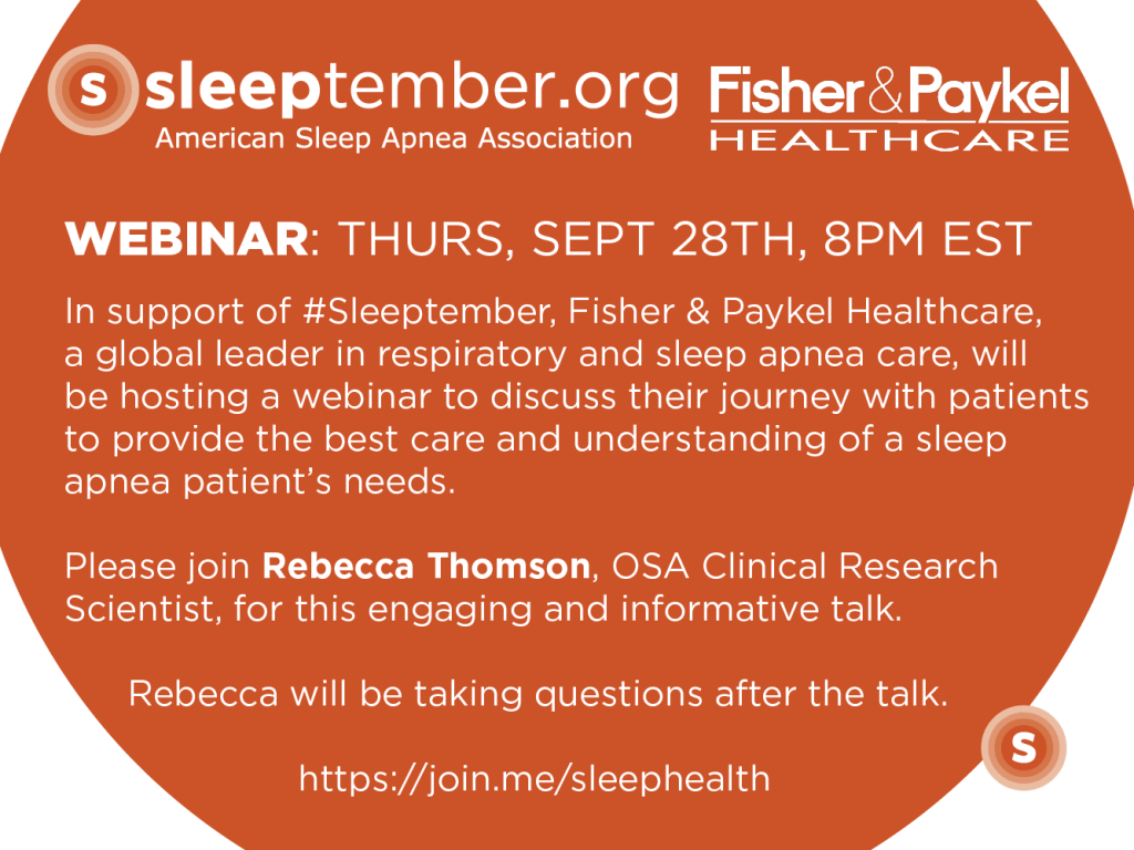 Fisher & Paykel webinar invite OSA CPAP sleeptember treating sleep apnea