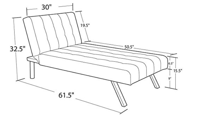 Size of Modern Couch Bed