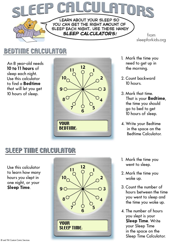 Sleep Calculators Sleep For Kids