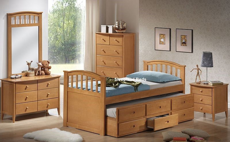 Euro Single Maple Bed Frame Cosmos Captains Guest Bed Drawers