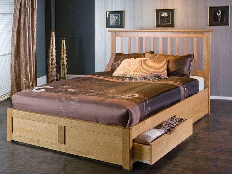 bianca oak wood storage bed with