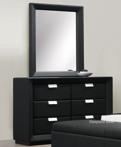 black faux leather dresser and chest