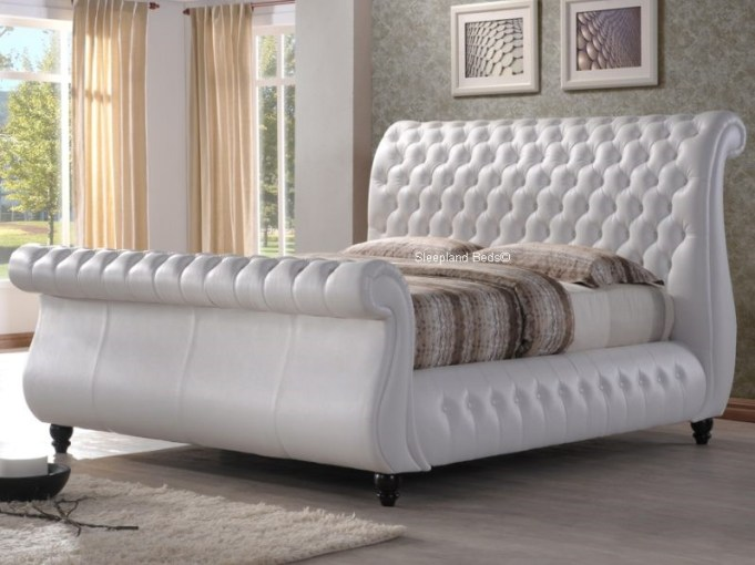 Swan White Leather Sleigh Bed Large Chesterfield   6ft Super Kingsize     Sleigh Bed   6ft Super Kingsize  Swan White Leather Bed Frame