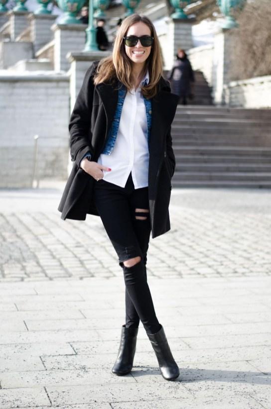 Superposition manteau noir et veste en jeans - Sleepy Kate