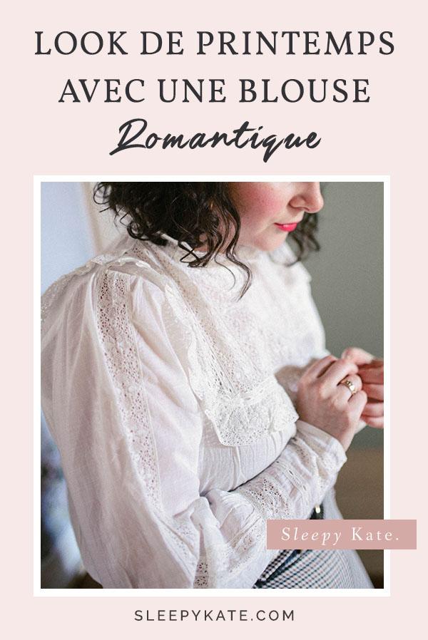 Inspiration de tenue pour femme: Look de printemps avec une blouse blanche brodée à volants! Une jolie pièce qui s'accorde parfaitement à plusieurs autres basiques dans notre garde-robe! #modefemmes #sezane