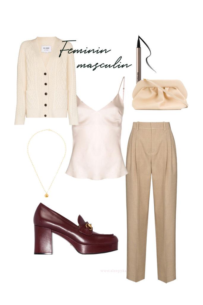 Vous cherchez des idées de tenues pour les fêtes de fin d'année? Je vous aide à créer des looks faciles avec ce qui se trouve déjà dans votre garde-robe! Un caraco satiné, un pantalon beige à pinces, des mocassins à talons, un cardigan crème.