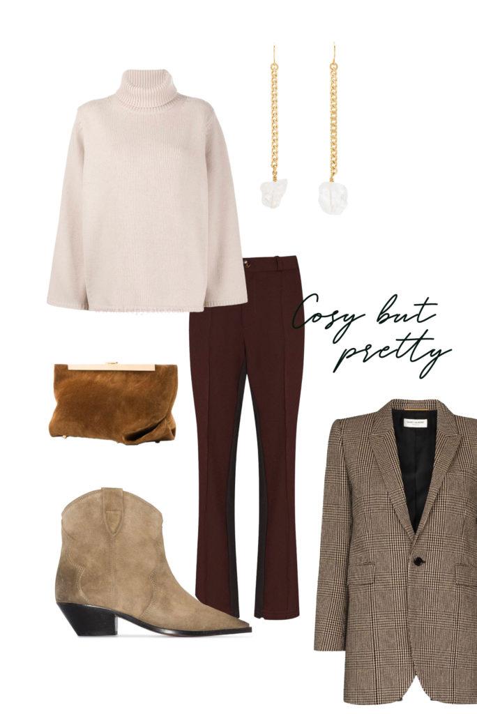 Vous cherchez des idées de tenues pour les fêtes de fin d'année? Je vous aide à créer des looks faciles avec ce qui se trouve déjà dans votre garde-robe! Un pull crème, pantalon bordeaux, santiags camel et une blazer à carreaux.