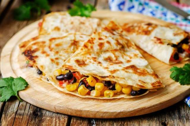 Weight Watchers Black Bean and Corn Quesadilla with cilantro and cheese.