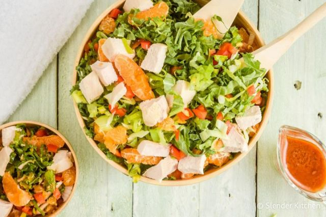 Thai chicken salad with Romaine, chicken breast, mandarin oranges, red pepper, and Thai dressing.