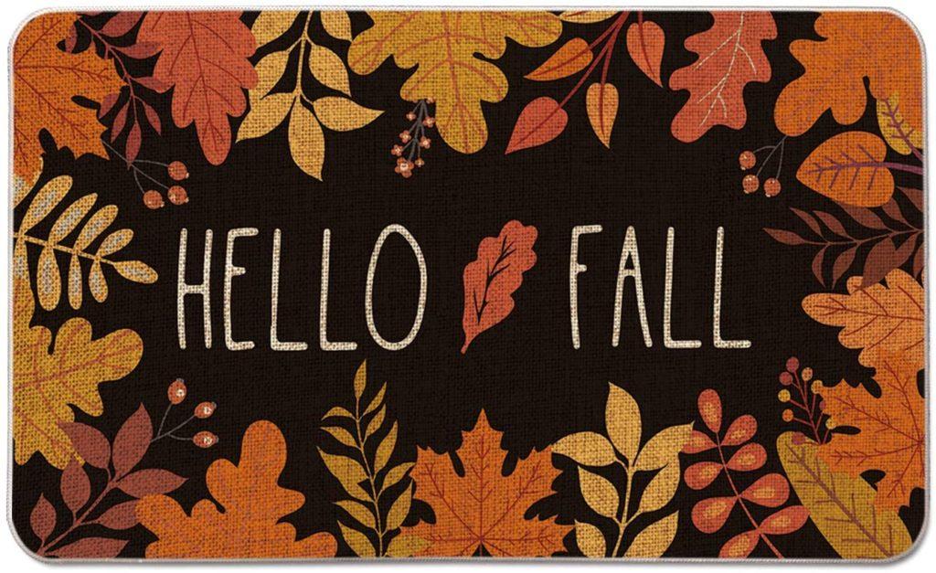 """Hello Fall"" Maple Leaves Decorative Doormat"