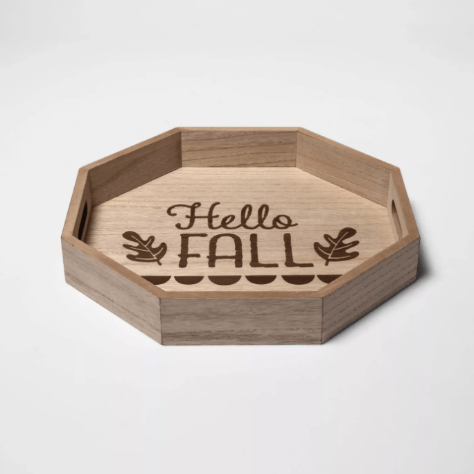 """""""Hello Fall"""" Decorative Wooden Serving Tray"""