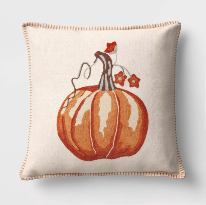 Square Embroidered Pumpkin Throw Pillow