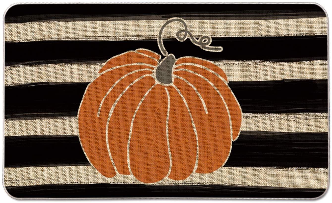 Stripes & Pumpkin Decorative Doormat