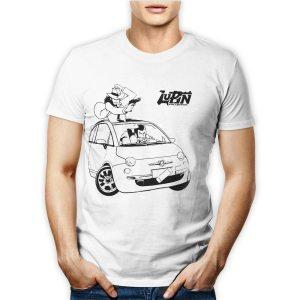 Tshirt personalizzata 100% cotone maschile con il famoso ladro Lupin su fiat 500 insieme a Jigen su maglietta bianca