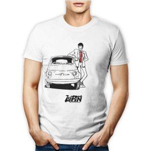Tshirt personalizzata 100% cotone maschile con il famoso ladro Lupin su fiat 500 su maglietta bianca
