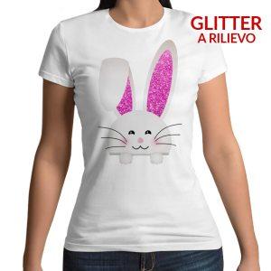 Tshirt 100% cotone con stampa frontale coniglio bianco con coniglioe rosa fluo glitterate su maglietta bianca