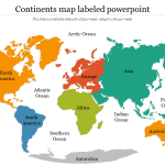 Colorful Continents Map Labeled Powerpoint Slideegg