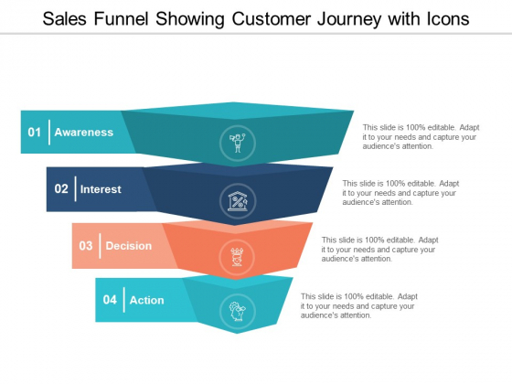 Sales Funnel Showing Customer Journey With Icons Ppt