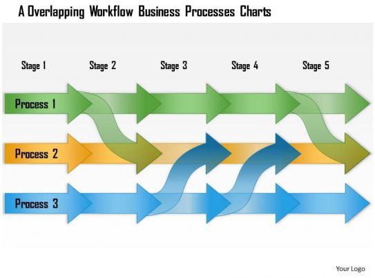 0614 Overlapped Linear Workflow Diagram Powerpoint Template Slide Presentation Graphics