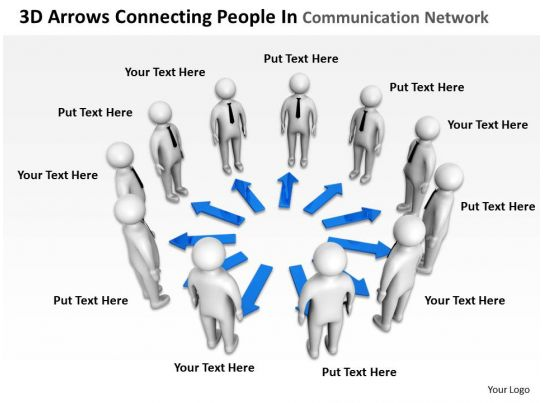 3D Arrows Connecting People In Communication Network Ppt Graphics Icons Templates PowerPoint