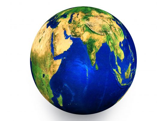 3D Graphic Of Globe Showing Concept Of Geography Stock Photo PowerPoint Templates Backgrounds