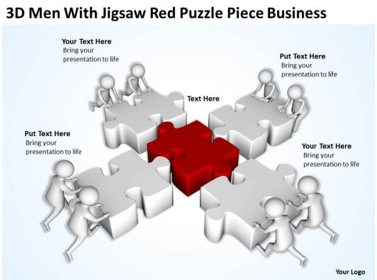3D Men With Jigsaw Red Puzzle Piece Business Ppt Graphics Icons Powerpoint PowerPoint