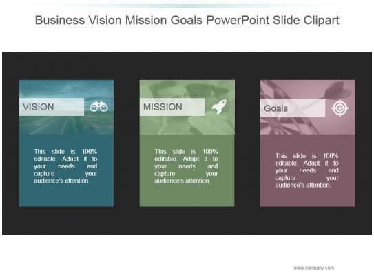 Business Vision Mission Goals Powerpoint Slide Clipart PowerPoint Design Template Sample