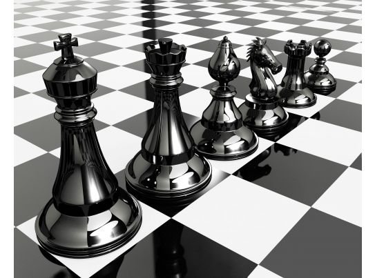 Chess Pieces On Chess Board For Team Strategy Stock Photo PowerPoint Slide Presentation Sample