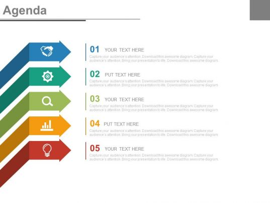 Five Staged Arrows And Icons For Business Agenda Powerpoint Slides PowerPoint Slide Templates