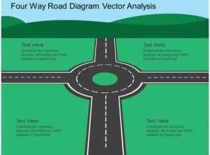 Fm Four Way Road Diagram Vector Analysis Flat Powerpoint Design | PowerPoint Presentation Slides