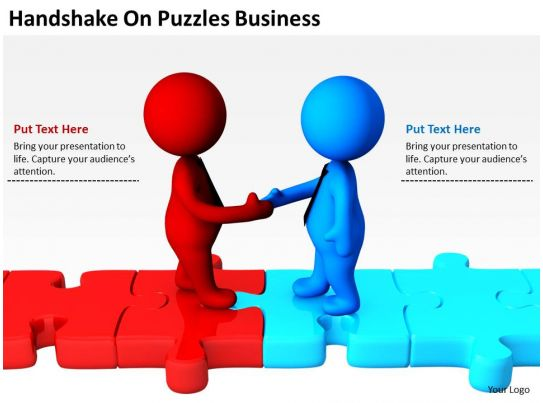 Handshake On Puzzles Business Ppt Graphics Icons PowerPoint PowerPoint Presentation Pictures