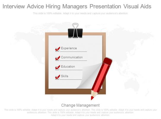 Interview Advice Hiring Managers Presentation Visual Aids Template Presentation Sample Of