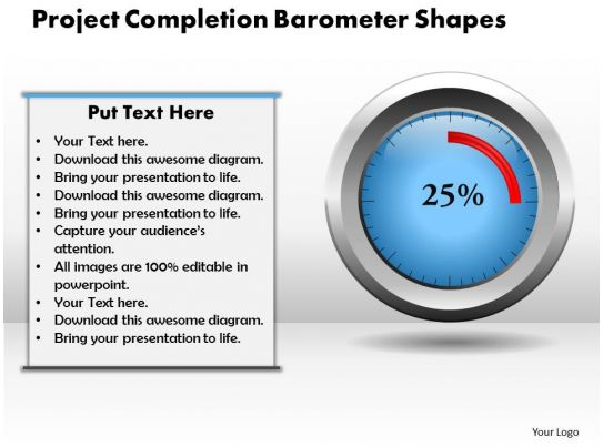 Project Completion Barometer PowerPoint Template PowerPoint Slide Images PPT Design