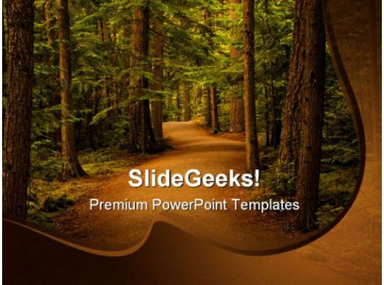 Forest Path Way Nature PowerPoint Template 0810 Presentation Graphics Presentation