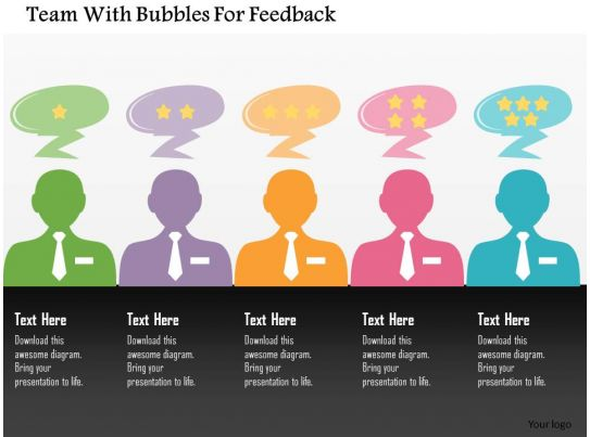 Team With Bubbles For Feedback Flat Powerpoint Design Presentation PowerPoint Diagrams PPT