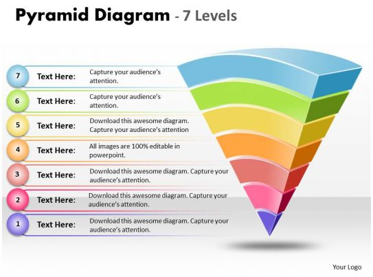 89620462 Style Layered Pyramid 7 Piece Powerpoint