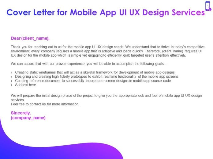Cover Letter For Mobile App Ui Ux Design Services Ppt Powerpoint Presentation Graphics Presentation Graphics Presentation Powerpoint Example Slide Templates