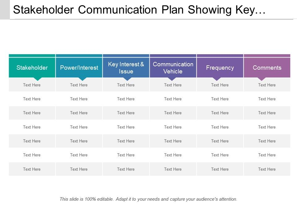 Stakeholder Communication Plan Showing Key Interest And