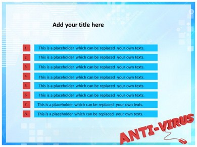 Powerpoint Template With Scam Virus Spyware Malware Antivirus Themed Background And A Black Colored