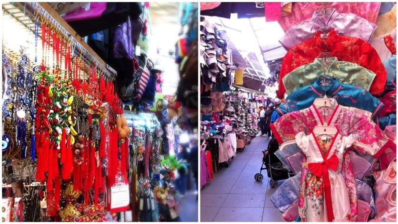 trinkets and Chinese gowns in a Chinatown hawker mall