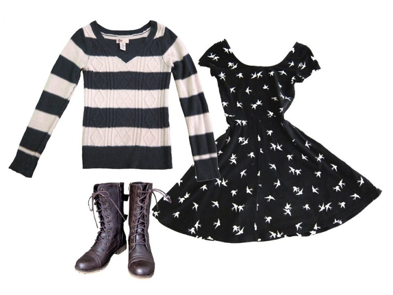 outfit 2: cotton dress, sweater, boots (breezy evenings)