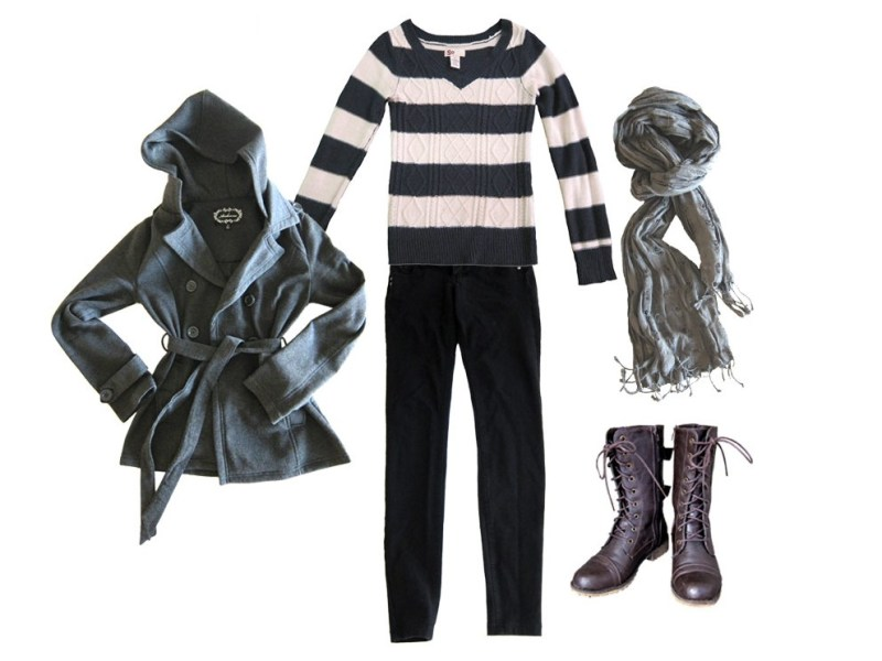 outfit 6: black skinnies, sweater, jacket, scarf, boots (chilly windy nights by the water)