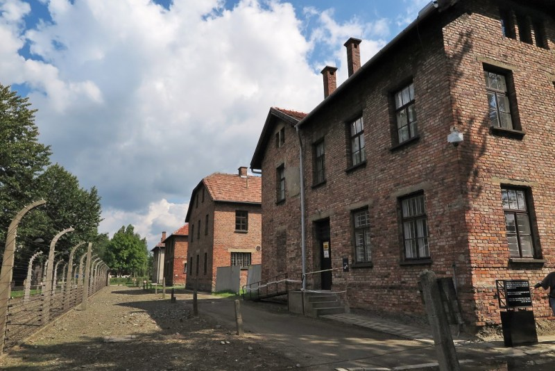 Auschwitz red brick buildings 1